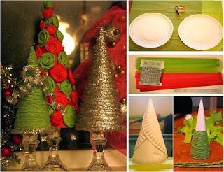 Arbol de Navidad con Platos Descartables y Lana, Manualidades Baratas Paso a Paso