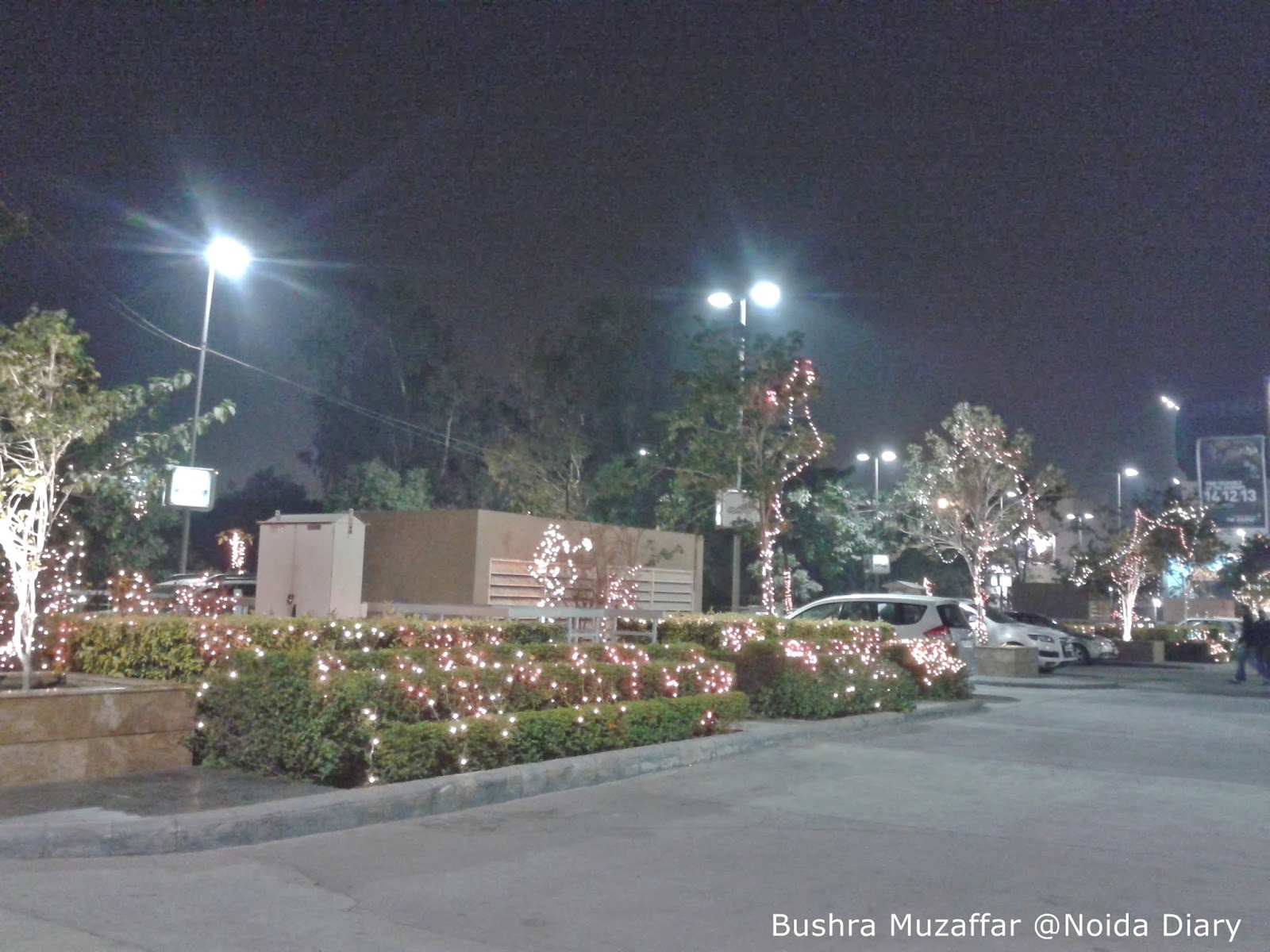 Christmas Lighting at the Sidewalk and Car Park of TGIP, Noida