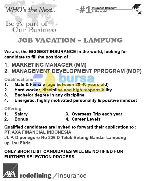 Job in Lampung PT. AXA Financial Indonesia