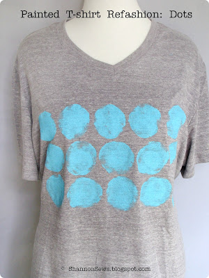 Refashion a plain t-shirt with fabric painted polka dots