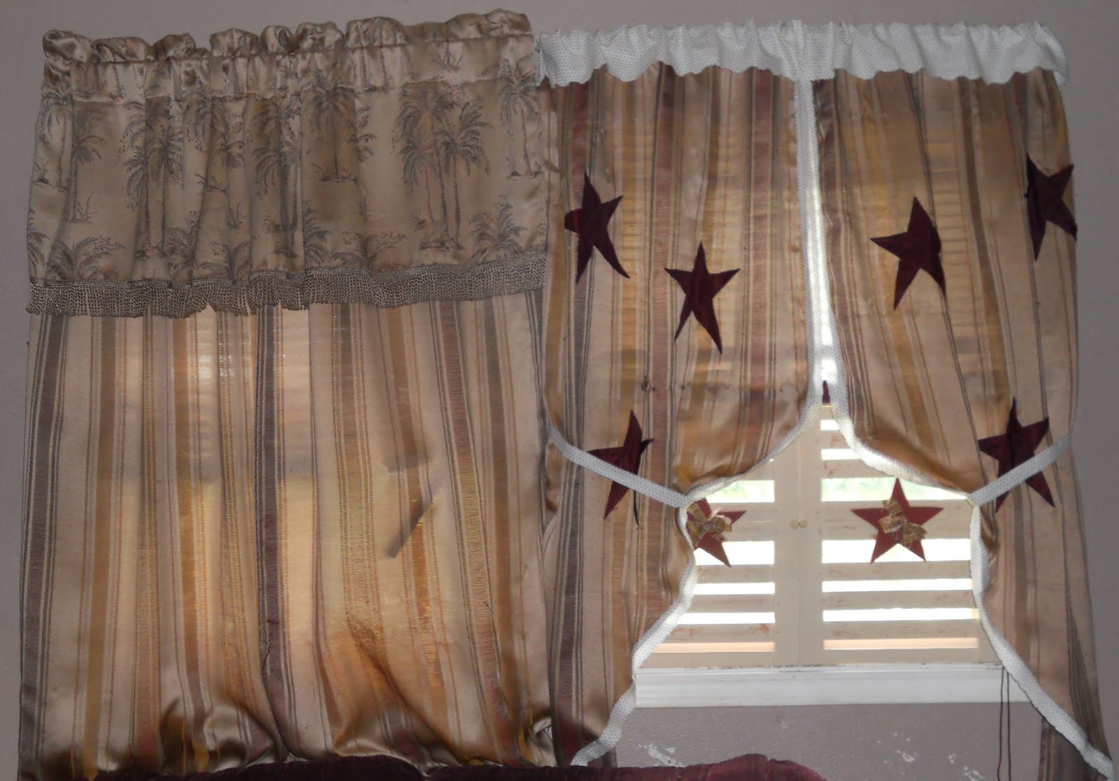 Cozy kountry cottage pictures from my curtain make over and my newest project a family - Primitive curtains for living room ...