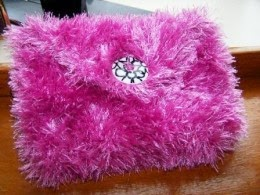 Knitted Pink Clutch Bag in Eyelash Yarn