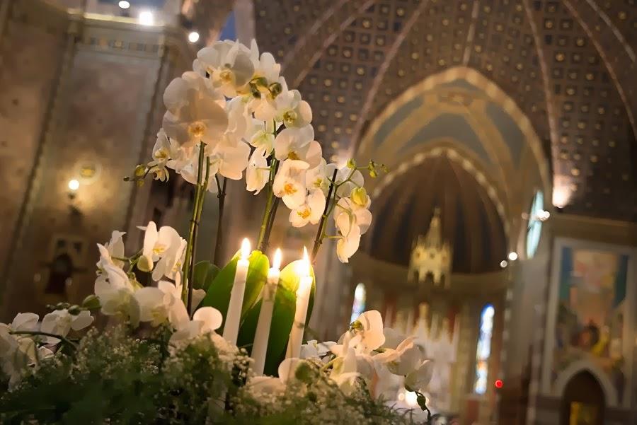 Decorazioni in chiesa: orchidee bianche e candele