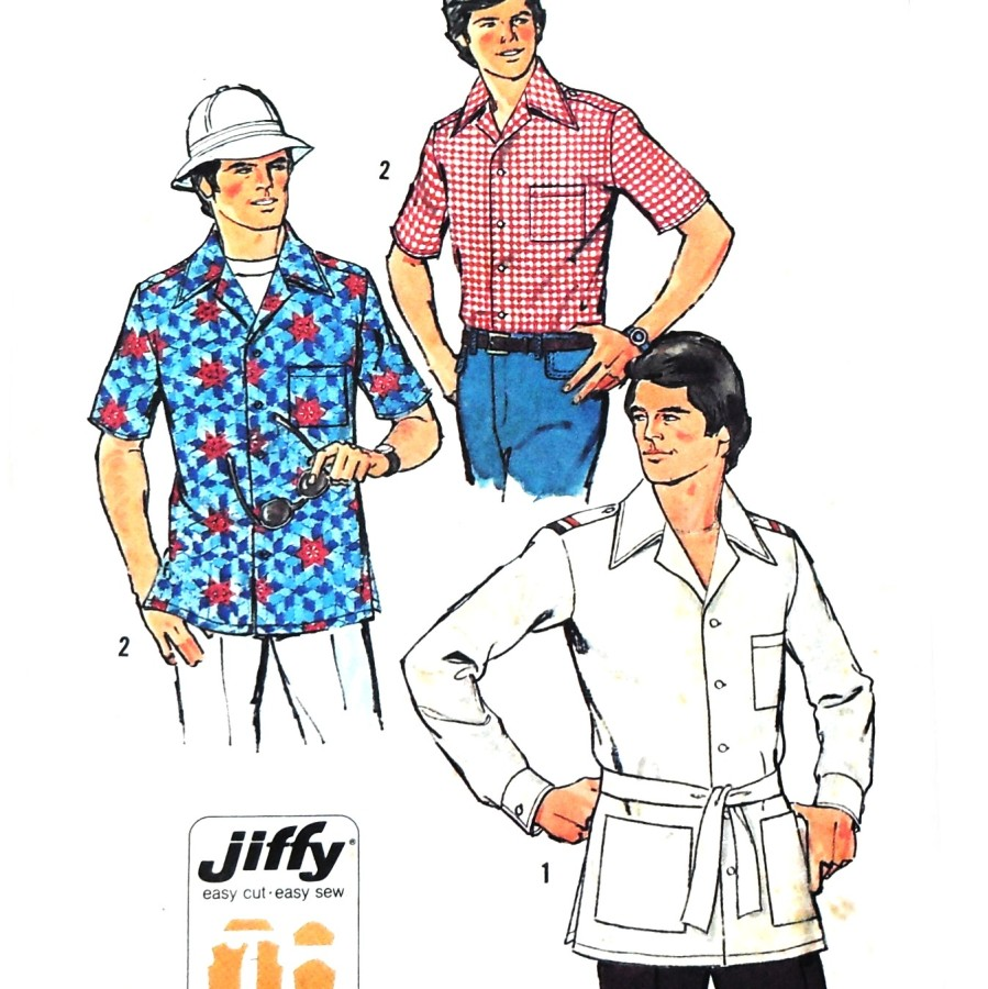 Mens camp shirt pattern the sewinghappyplace vintage 1970s sewing pattern mens camp shirt military safari magnum pi look jiffy pattern simplicity 7362 available here jeuxipadfo Images