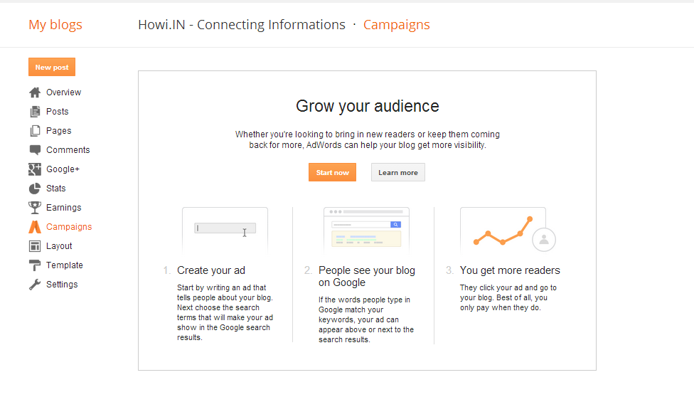Blogspot Blog New Campaign Option Lunched