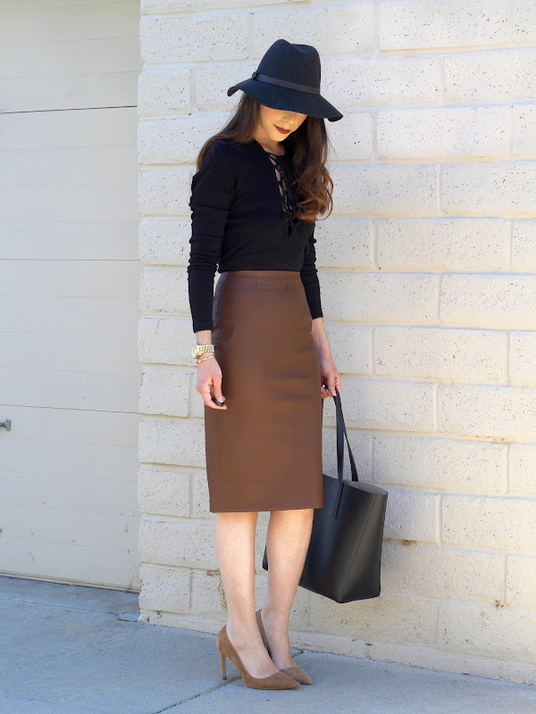 J.Crew Wide Brimmed Felt Hat with Leather Band