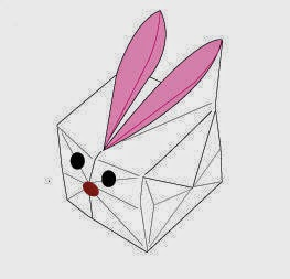 Bước 17: Vẽ mắt, mồm để kết thúc công việc gấp con thỏ giấy.