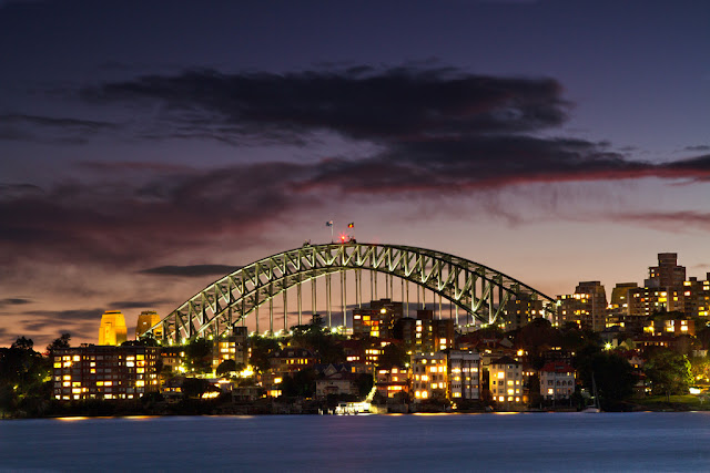 A photograph of the Harbour Bridge over Kirribilli in Sydney, australia