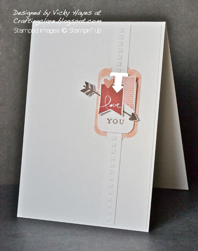 Crafting clare makes a valentine or anniversary card using the Scalloped tag topper punch from Stampin Up