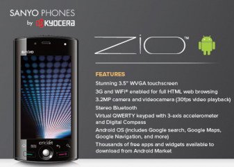 Sanyo Zio by Kyocera Android phone coming to Cricket