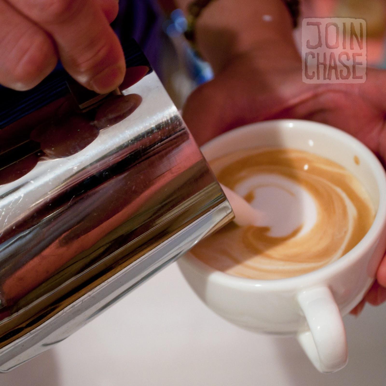 The beginning stages of foam art in a latte in Ochang, South Korea.