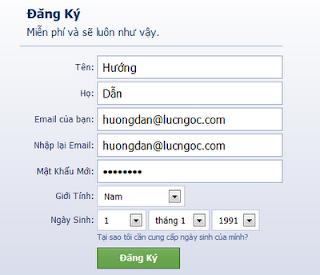 Khung đăng ký tài khoản facebook
