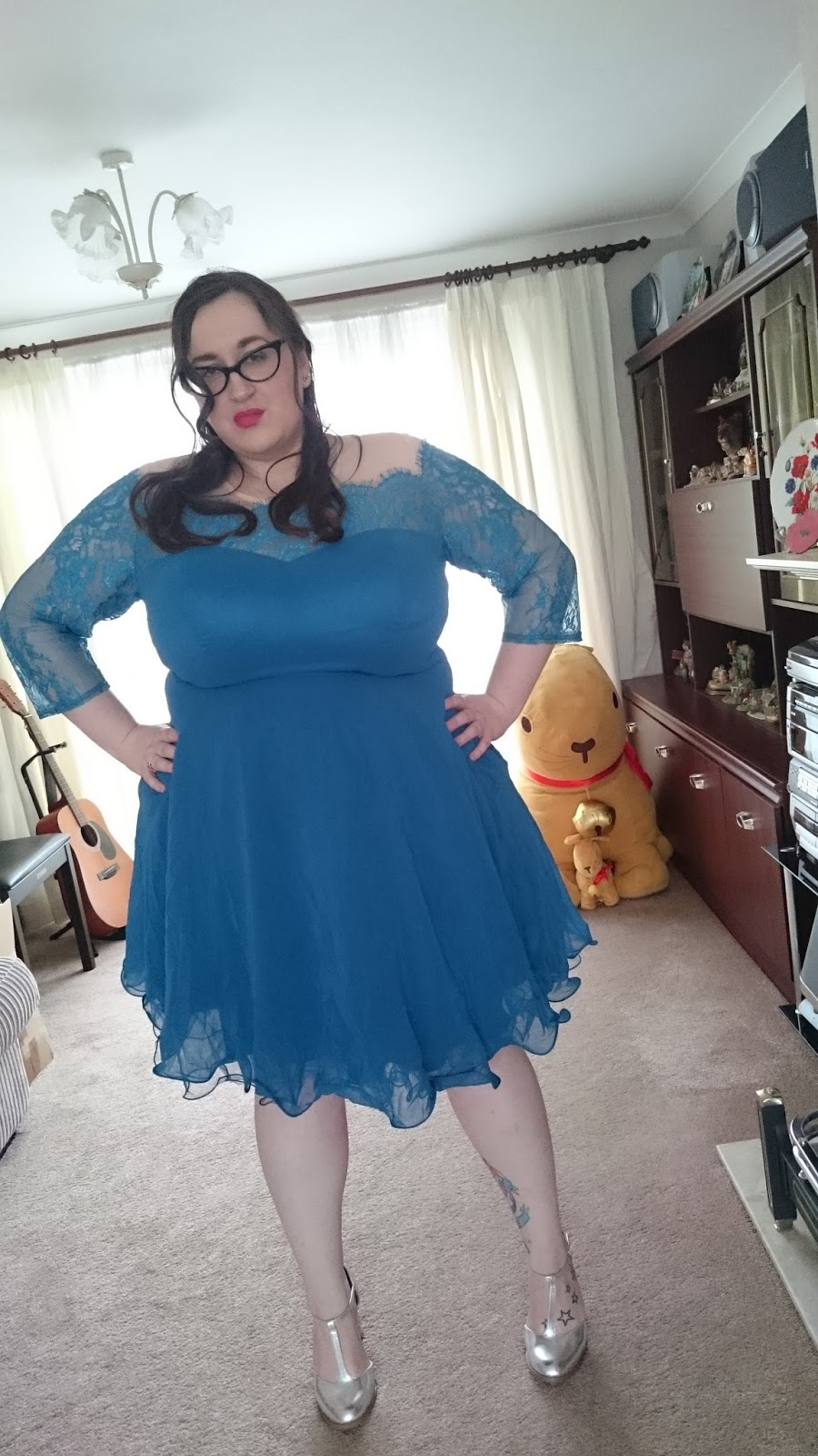 fat plus size girl bbw (size 20/22) wearing a chi chi london from asos curve dress