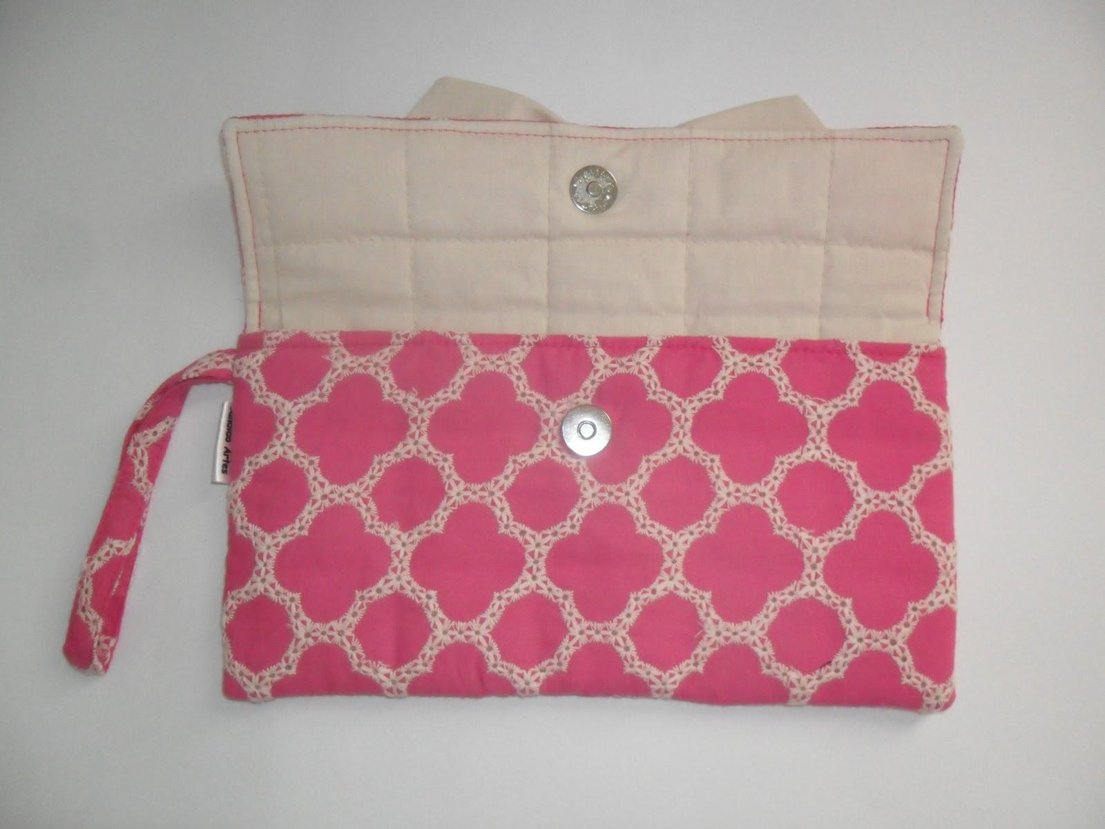 Bolsa Em Algodão Cru Passo A Passo : Artesanato candido artes bolsa de m?o carteira pink com la?o
