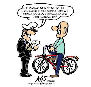 biciclette, tasse, PD, Filippi, satira vignetta