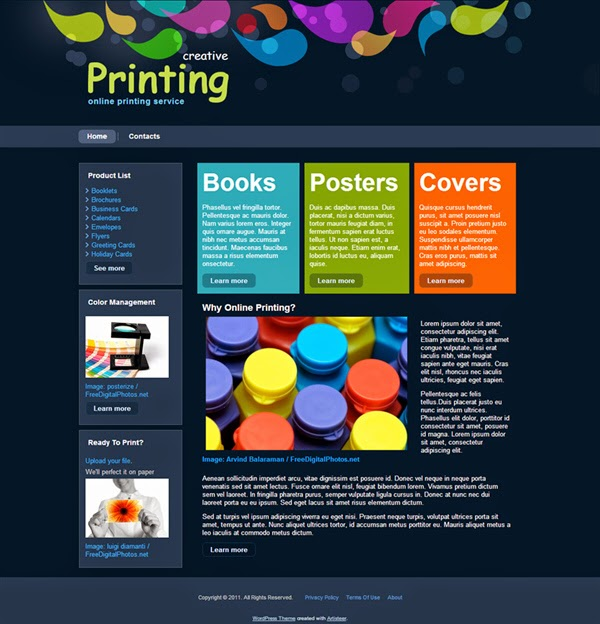 Creative Printing - Free Wordpress Theme