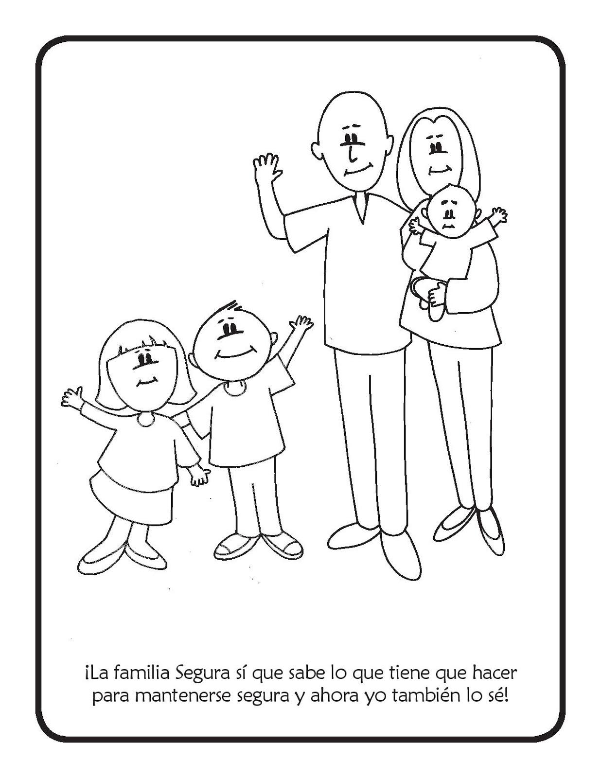 Familia segura para colorear