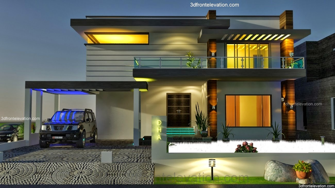 3d Front 2 2 Kanal Dha Karachi Modern Contemporary House Design With Swimming