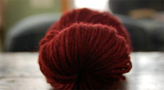 maroon kool aid dyed yarn