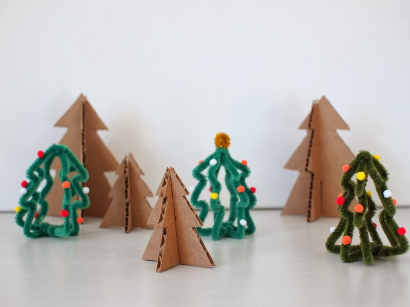 mini cardboard and pipe cleaner trees tutorial cardboard christmas trees - Cardboard Christmas Decorations