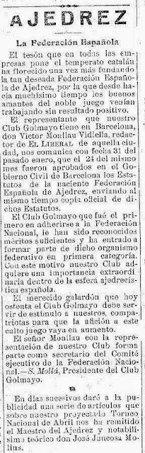 Recorte de El Liberal sobre el I Torneo Nacional de Ajedrez de Murcia 1927