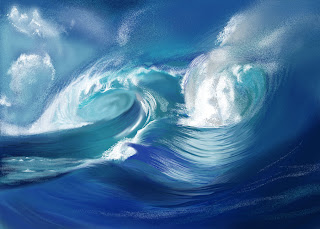 digital painting of 2 waves breaking by TonyMark
