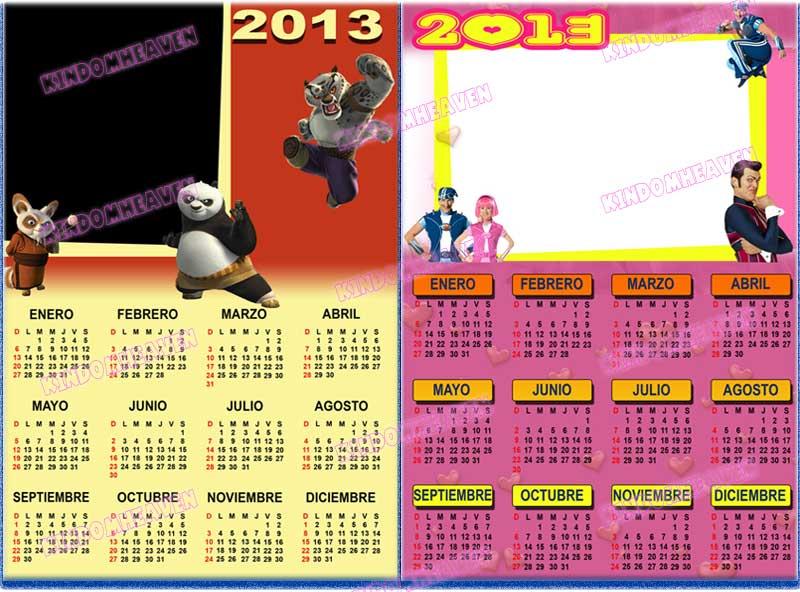 calendarios 2013 psd png lazy town kun fu panda para imprimir