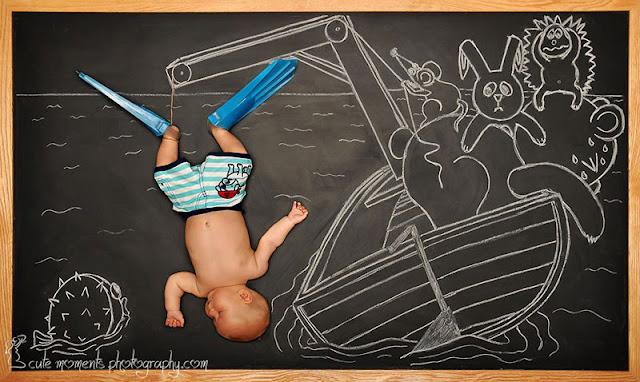 Pengembaraan bayi yang baru lahir di atas papan tulis