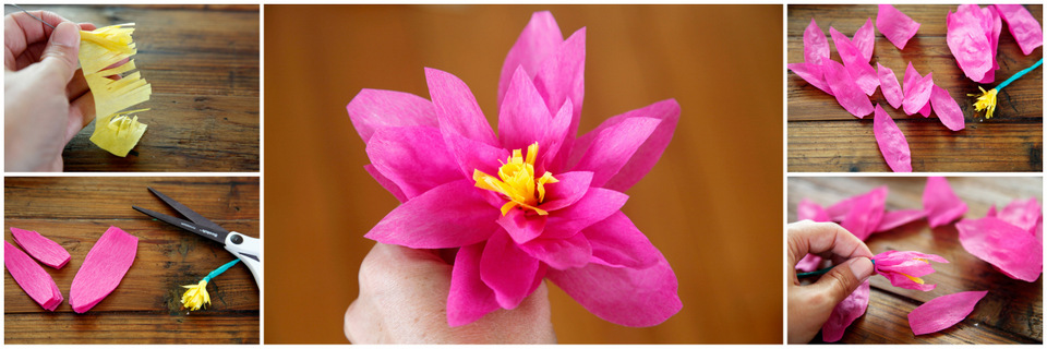 Creativity unmasked easy diy crepe paper flowers fringed button stamen cut a length of florist wire or substitute see tips and tricks below to suit your project roll or wrap the top flower tip of mightylinksfo Images