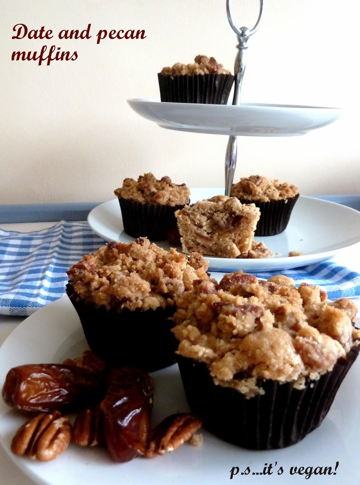Date and pecan vegan muffins