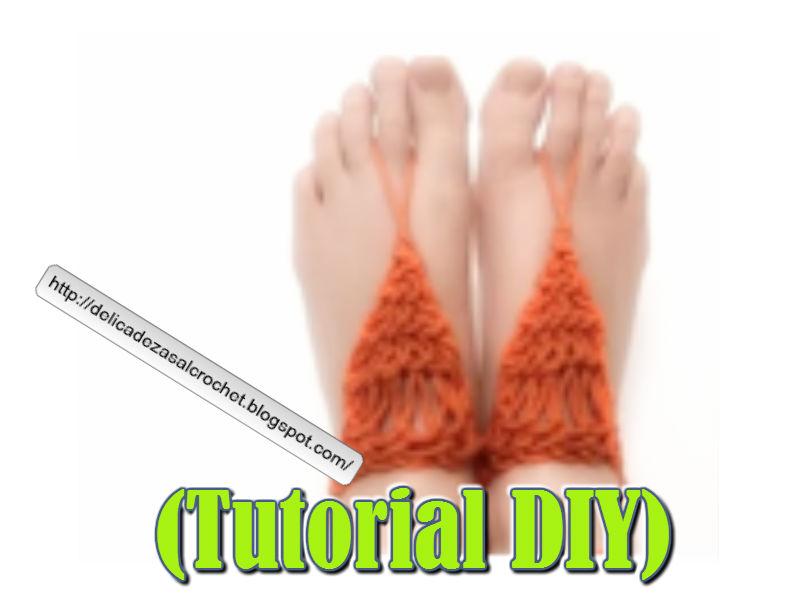 Delicadezas en crochet Gabriela: (Tutorial DIY) Sandalias descalzas ...