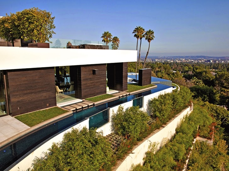 Vegetation around Perfect modern mansion in Beverly Hills