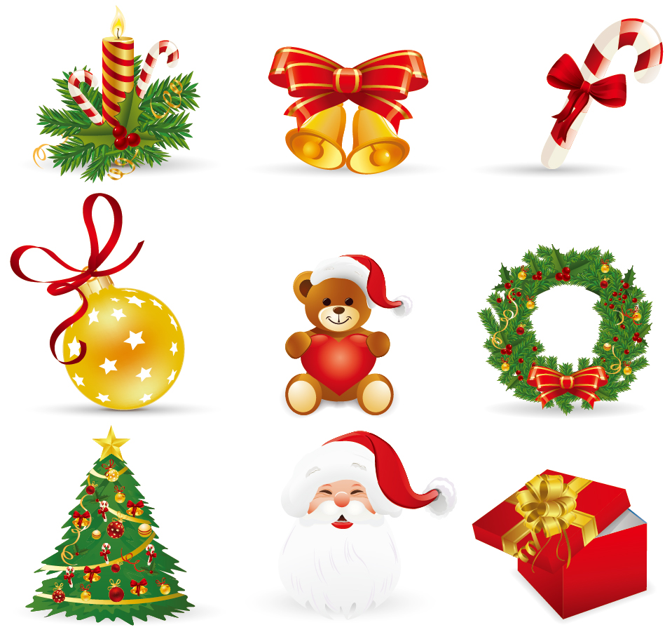 Beautiful christmas ornaments vector for Figuras de navidad para decorar