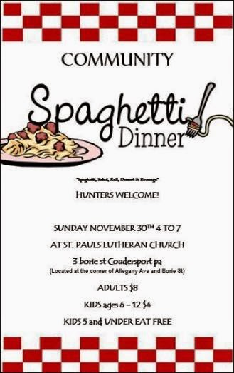 11-30 Spaghetti Dinner Coudersport