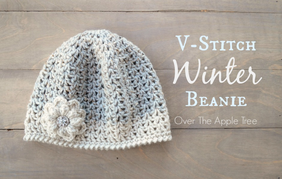 Crochet V Stitch Hat : stitch Winter Beanie, free pattern, Over The Apple Tree