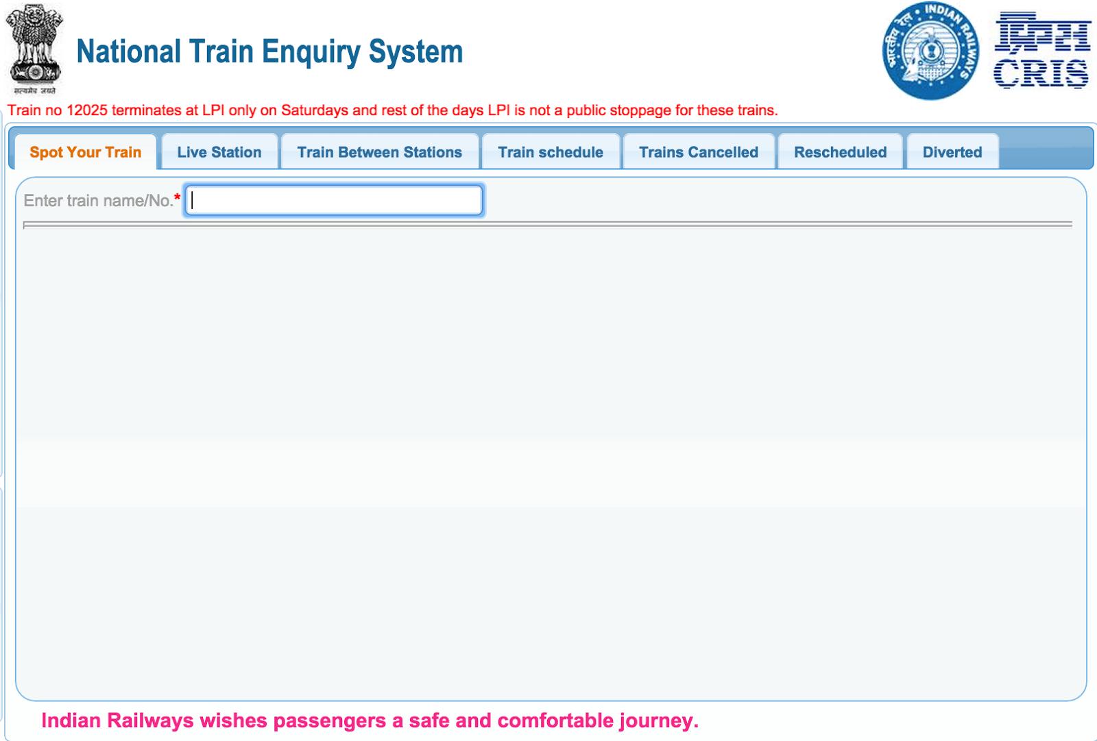 Train Status live running enquiry