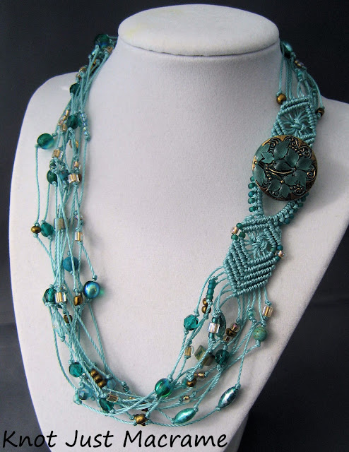 beaded macrame necklace with button closure