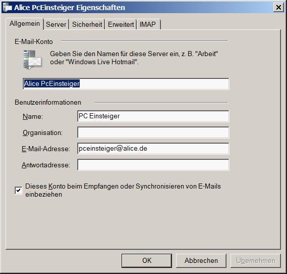 alice mail imap