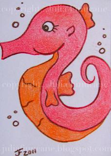 coral seahorse aceo