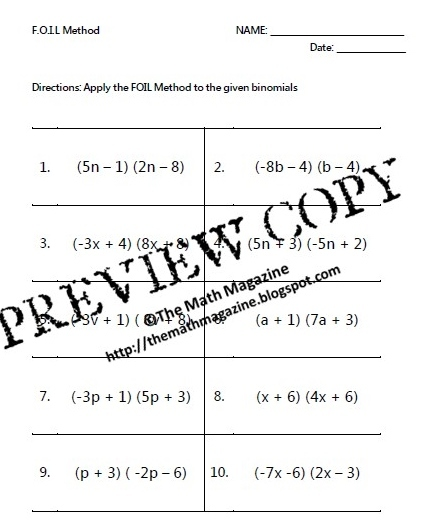 math worksheet : the math magazine foil method multiplying binomials worksheet  : Multiplication Of Binomials Worksheet