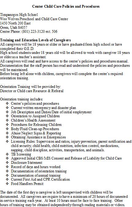preschool policies and procedures timpanogos weewolves childcare amp preschool policies and 326