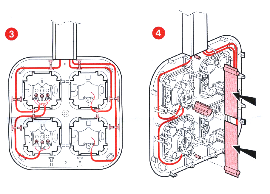 Схема установки накладных розеток
