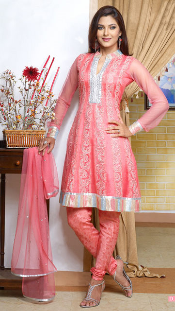 Orange Colorued Short Anarkali with Designer Sandals