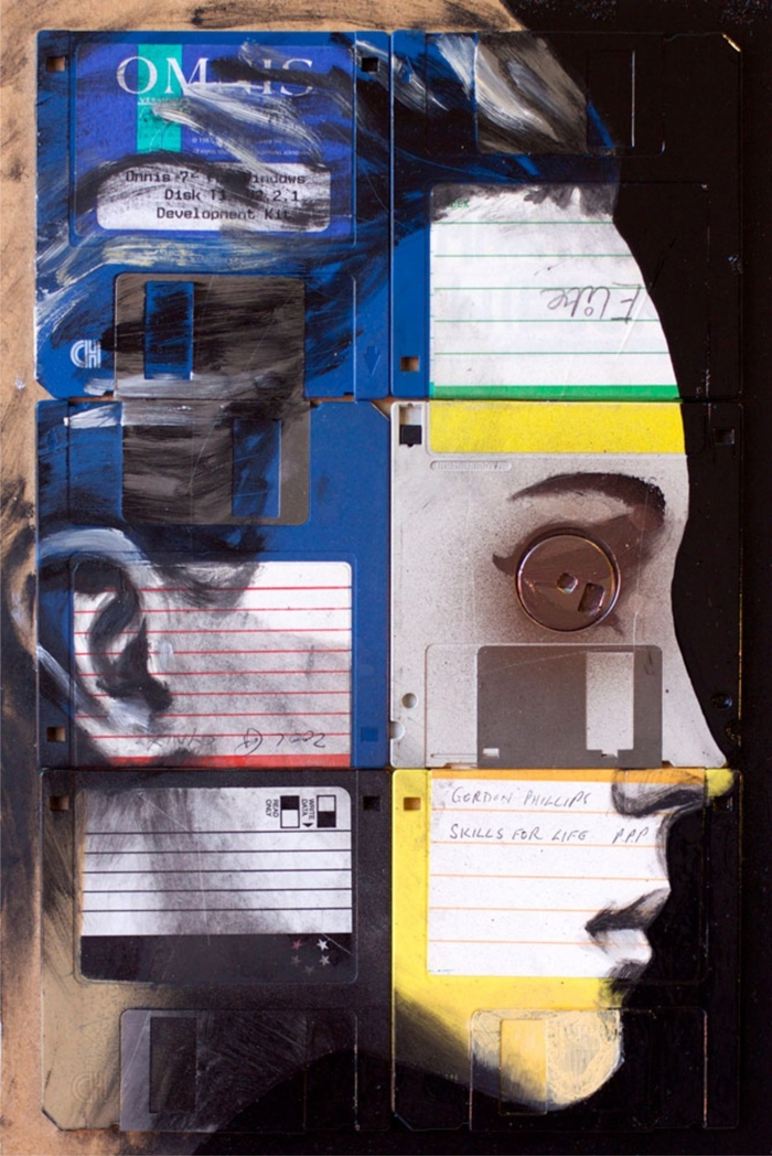 Nick Gentry 1980 | Floppy disk abstract painter