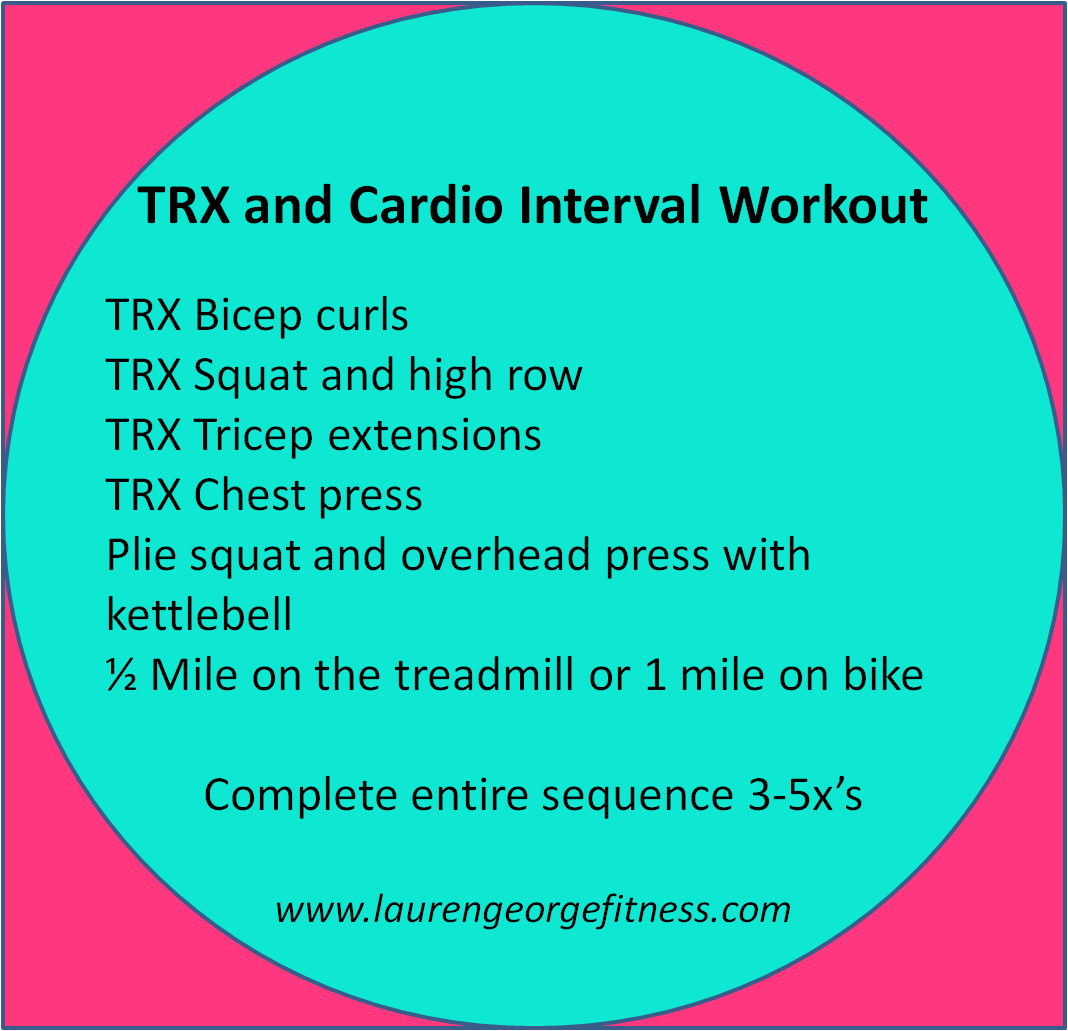 Challenge your cardio and increase your strength with this TRX interval workout. www.laurengeorgefitness.com