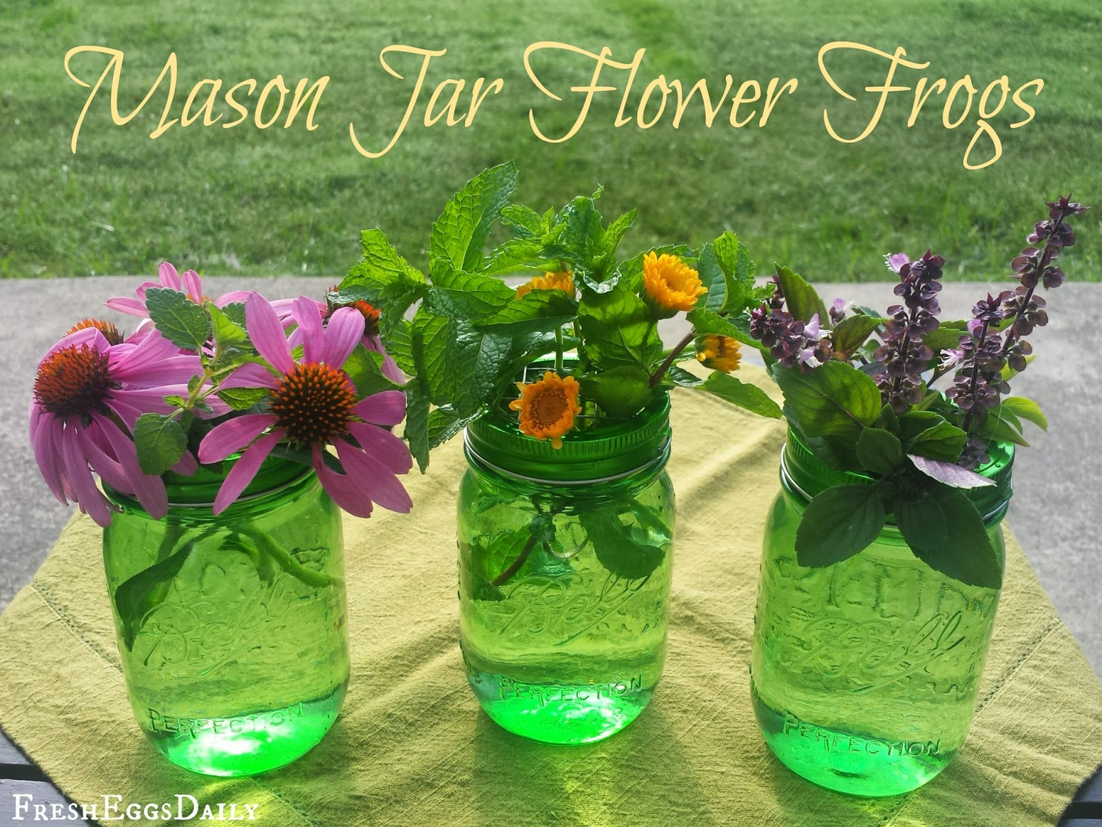 diy mason jar flower frogs fresh eggs daily