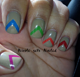 Skittles Nude Chevron Nails