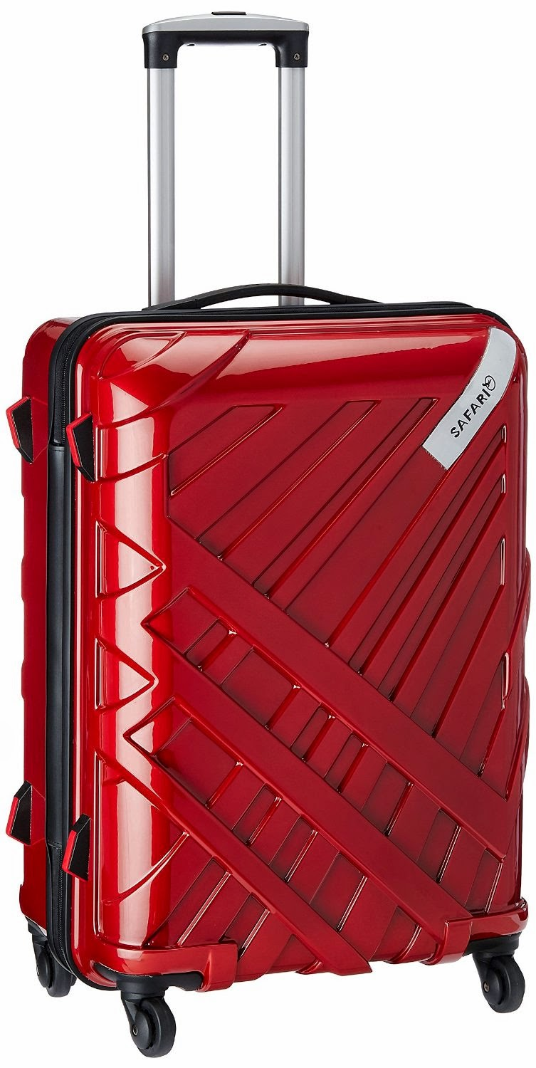 Buy Safari Strobe Polycarbonate 66 cms New Red & Purple Hard Sided Medium Suitcase Rs. 3,149 only at Amazon.