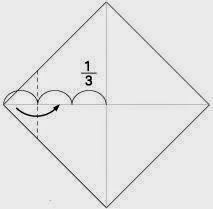 Bước 2: Gấp góc tờ giấy vào bên trong, vị trí gấp như hình vẽ.