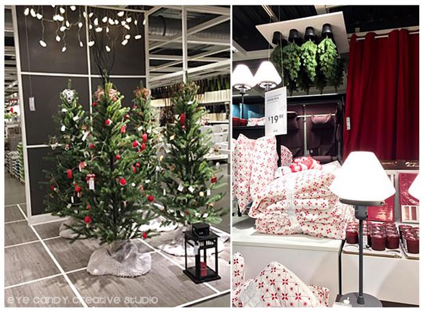 christmas lights, christmas tree, ornaments, bedding